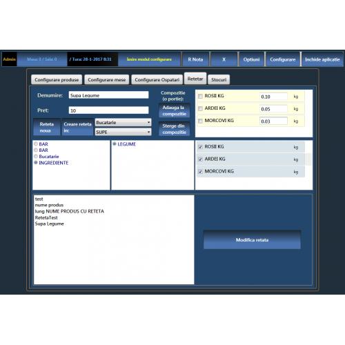 Licenta software modul compunere RETETAR